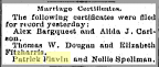 Nellie Spellman and Patrick Flavin marriage certificate announcement in newspaper, 1889